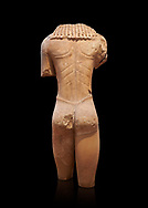 Archaic ancient Greek marble torso of a kouros statue, from Temple of Poseidon, Sounion, circa 600 BC, Athens National Archaeological Museum. Cat no 3645.   Against black.