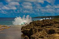 A row of blowholes shoots water upwards on the coast on Tonga
