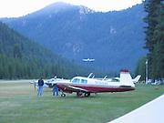 Airplane landing at Johnson Creek, ID