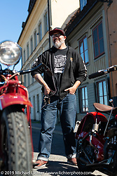 Indian Motorcycles design director Ola Stenegard WITH Jakob and Max Rutkvist's 1930 Indians (a Chieftain and a Scout.) Stockholm, Sweden. Friday, May 31, 2019. Photography ©2019 Michael Lichter.