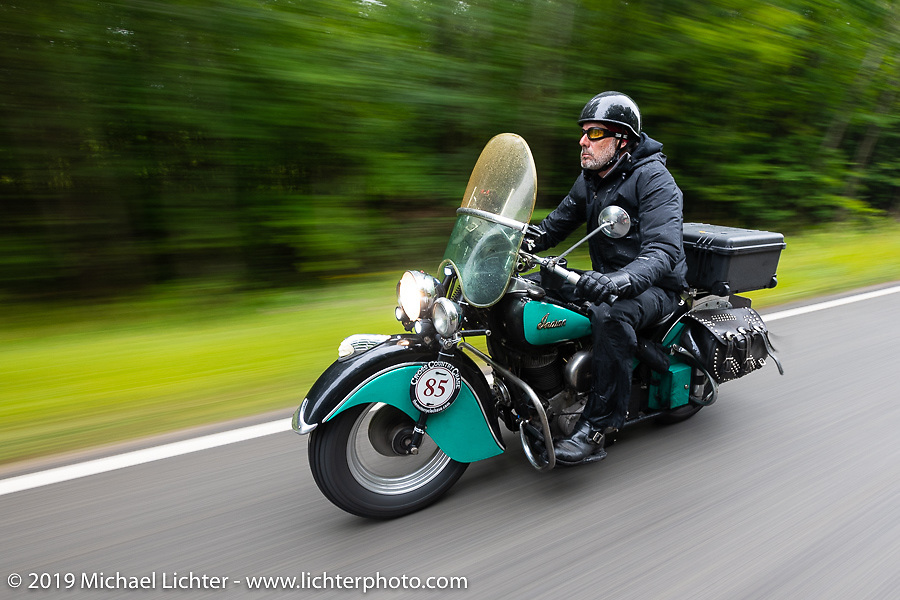 Jason Wadzinski riding Jess, his 1947 Indian Chief in the Cross Country Chase motorcycle endurance run from Sault Sainte Marie, MI to Key West, FL. (for vintage bikes from 1930-1948). Stage 1 from Sault Sainte Marie to Ludington, MI USA. Friday, September 6, 2019. Photography ©2019 Michael Lichter.