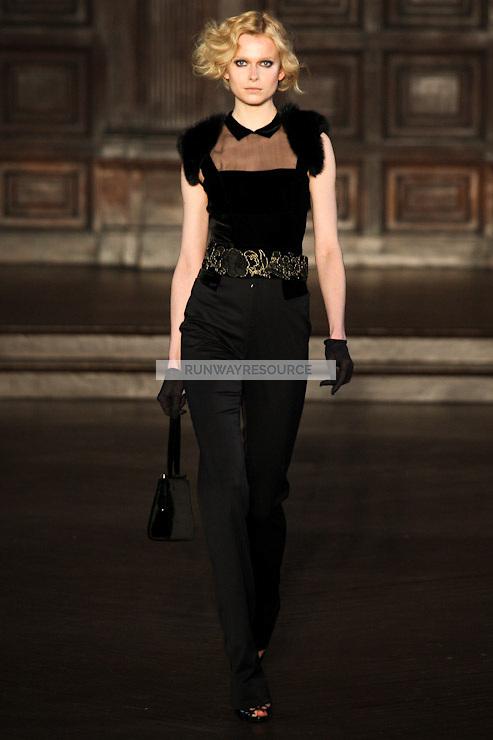 Karo Mrozkova walks down runway for F2012 L'Wren Scott's collection in Mercedes Benz fashion week in New York on Feb 10, 2012 NYC
