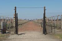 09 APR 2012, KRAKOW/POLAND:<br /> Hauptweg durch das Lager, links und rechts Fundamente von Holz-Baraken, Staatliches polnisches Museum / Gedenkstaette des ehem. Konzentrationslager Ausschitz-Birkenau<br /> IMAGE: 20120409-01-024<br /> KEYWORDS: Krakau, KZ, Vernichtungslagers Auschwitz II–Birkenau, Polen