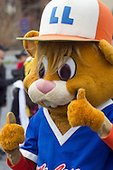 Middletown, New York - Dugout, the Little League mascot, gives the thumbs up sign before marching in the 60th annual Middletown Little League parade on April 14, 2013.