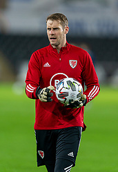 SWANSEA, WALES - Thursday, November 12, 2020: Wales' goalkeeper Owain Fon Williams during the pre-match warm-up before an International Friendly match between Wales and the USA at the Liberty Stadium. (Pic by David Rawcliffe/Propaganda)