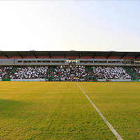 28.08.2019, Stadion Lohmühle, Luebeck, GER,  VFB Lübeck/Luebeck vs VfL Wolfsburg IIi<br /> <br /> DFB REGULATIONS PROHIBIT ANY USE OF PHOTOGRAPHS AS IMAGE SEQUENCES AND/OR QUASI-VIDEO.<br /> <br /> im Bild / picture shows<br /> 100 Jahre VfB Luebeck die Tribuene in Gruen Weiss.<br /> <br /> Foto © nordphoto / Tauchnitz