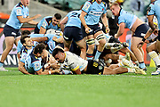 Asafo Aumua dives over to score a try. Waratahs v Hurricanes. 2021 Super Rugby Trans Tasman Round 1 Match. Played at Sydney Cricket Ground on Friday 14 May 2021. Photo Clay Cross / photosport.nz
