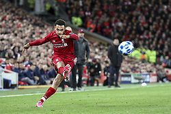 October 24, 2018 - Liverpool, United Kingdom - Liverpool defender Trent Alexander-Arnold (66) shoots the ball during the Uefa Champions League Group Stage football match n.3  Liverpool v FK Crvena Zvezda on October 24, 2018, at the Anfield Road in Liverpool, England. (Credit Image: © Matteo Bottanelli/NurPhoto via ZUMA Press)