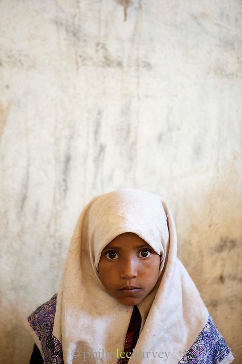 Schoolgirl in class, Dixsam School, Dixsam, Socotra, Yemen