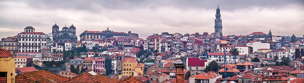 Oporto, December 2012. Panoranic view of downtown, UNESCO World Heritage Site.