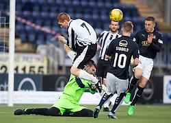 Fraserburgh's John Chalmers over Fraserburgh's keeper Joe Barbour. <br /> Falkirk 4 v 1 Fraserburgh, Scottish Cup third round, played 28/11/2015 at The Falkirk Stadium.