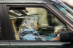 © London News Pictures. 12/05/2016. Windsor, UK. HRH QUEEN ELIZABETH II driving a Range Rover on The first day of the 2016 Royal Windsor Horse Show, held in the grounds of Windsor Castle in Berkshire, England. The opening day of the event was cancelled due to heavy rain and waterlogged grounds. This years event is part of HRH Queen Elizabeth II's 90th birthday celebrations.  Photo credit: Ben Cawthra/LNP