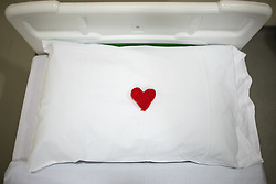 © Licensed to London News Pictures . 19/02/2021. Salford , UK . A knitted red heart placed on a pillow on a bed in a mortuary viewing room , where patient identifications and final viewings are carried out . A look at the end of life care provided at Salford Royal Hospital during Coronavirus restrictions . Photo credit : Joel Goodman/LNP