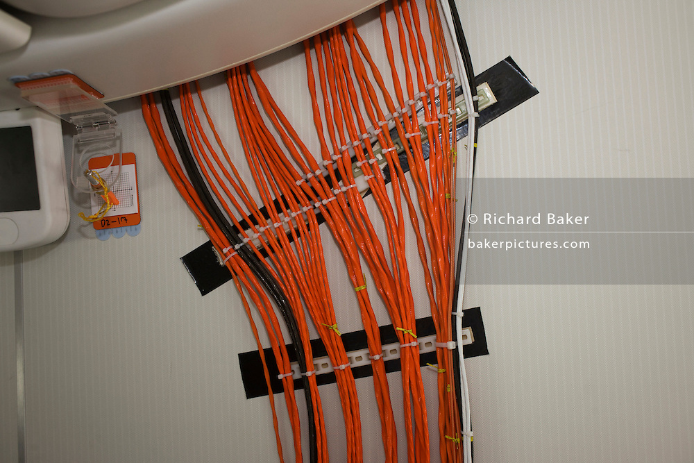 Test wiring onboard the Boeing-manufactured 787 Dreamliner (N787BX) at the Farnborough Airshow.