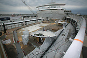 Oasis of the Seas at the shipyard in Turku, Finland where she is being built..Photos show Royal Caribbean's latest  ship 2 months before completion. .View of the pool deck