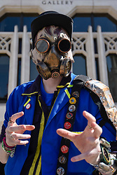 © Licensed to London News Pictures. 08/04/2017. London, UK. A Steampunk character joins participants in the inaugural Games Character Parade, walking from Guildhall to Paternoster Square.  The event formed part of the London Games Festival welcoming cosplayers, wearing costumes inspired by videogame characters, to the UK's biggest parade of cosplayers.   Photo credit : Stephen Chung/LNP