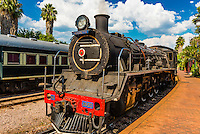 Steam locomotive brought out for demonstration (not used to pull train any longer), Rovos Rail Station, Capital Park, Pretoria (Tshwane), South Africa.