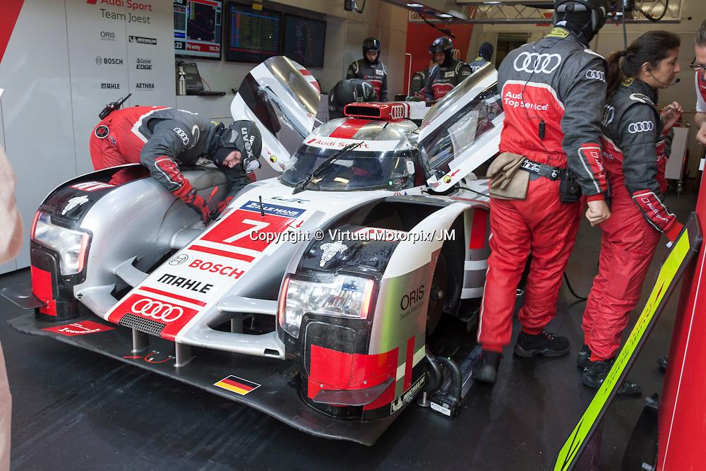 #7 Audi R18 e-tron quattro, Audi Sport Team Joest driven by Marcel Fassler, Andre Lotterer, Benoit Treluyer, Le Mans 24hr 2015, Test Day