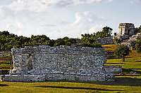view of the mayan archeologic site of tulum