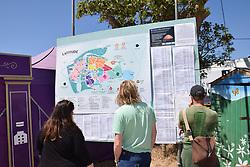 Latitude Festival, Henham Park, Suffolk, UK July 2018. Map and information point