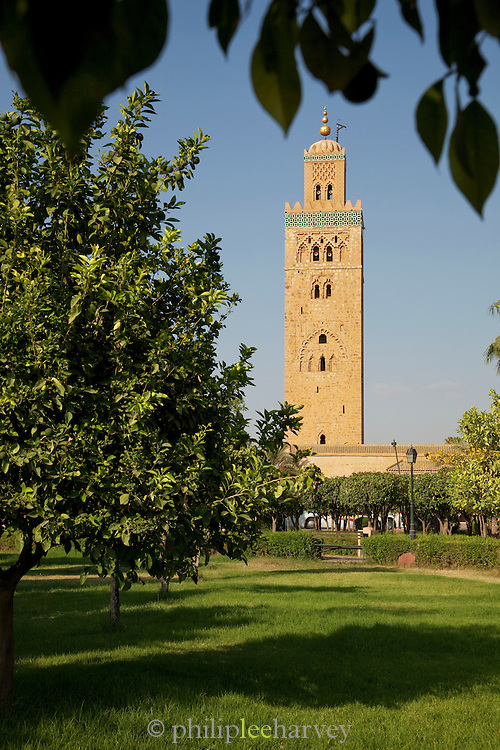 The minaret of the Koutoubia Mosque seen from Parc Lalla Hasna, in Marrakech, Morocco
