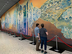 United States, Washington, Seattle, The Cure Building, Seattle Children's, 2019 mural by Rebecca Bird features four panels which tell a different story of Seattle Children's history and future