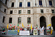 Iranian Protestors outsideThe Foreign Office in St James' in central London.