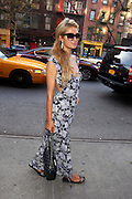 Sept. 12, 2014 - New York City, NY, United States - <br /> <br /> Paris Hilton in flora dress<br /> <br /> Paris Hilton arrives at a downtown hotel on September 12 2014 in New York City<br /> ©Exclusivepix