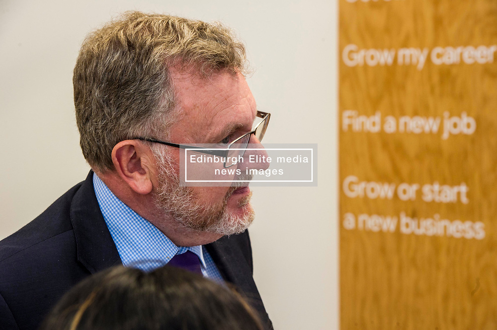 Pictured: David Mundell eyed the menu at the entrance and one entry appeared to catch his eye<br /> <br /> Scottish Secretary David Mundell visited a 'digital garage' in Edinburgh which trains people in digital skills. The Google Digital Garage, in Shandwick Place is a social responsibility outlet for the corporate giant<br /> <br /> <br /> Ger Harley   EEm 23 July 2018