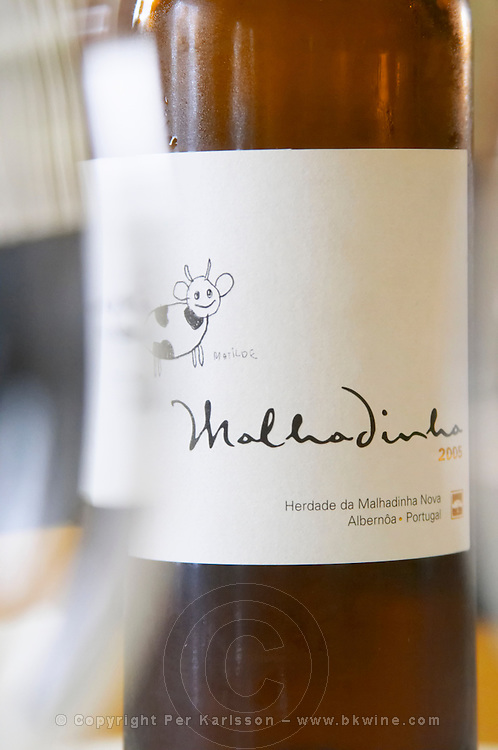 Bottle of Malhadinha 2005. Drawing by Matilde. Herdade da Malhadinha Nova, Alentejo, Portugal