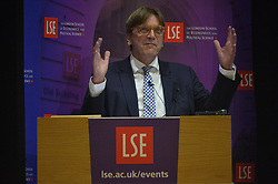 © Licensed to London News Pictures. 28/09/2017. London, UK. Guy Verhofstadt makes a speech at the 'The Future of Europe Post-Brexit' London School of Economics event. Mr Verhofstadt argues for a Europe that is united against challenges nation-states can no longer deal with on their own: from migration to defence to the tackling of the economic crisis. Brexit is the perfect opportunity to deliver that stronger and more democratic Europe. Photo credit: Ray Tang/LNP