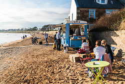 View of beach with mobile coffee shop at Elie in the East Neuk of Fife in Scotland, United Kingdom