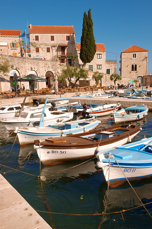 Fishing boats in Bol harbour, Brac island, Croatia Fishing boats in Bol harbour, Brac island, Croatia .<br /> <br /> Visit our CROATIA HISTORIC SITES PHOTO COLLECTIONS for more photos to download or buy as wall art prints https://funkystock.photoshelter.com/gallery-collection/Pictures-Images-of-Croatia-Photos-of-Croatian-Historic-Landmark-Sites/C0000cY_V8uDo_ls