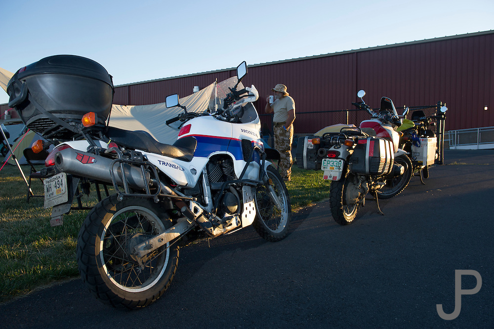 A Honda Transalp, which is not imported to the USA, shows up at the rally and doesn't look out of place.