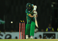 August 12, 2018 - Colombo, Sri Lanka - South African cricketer Hashim Amla is bowled out during the 5th and final One Day International cricket match between Sri Lanka and South Africa  at R Premadasa International cricket ground, Colombo, Sri Lanka on Sunday 12 August 2018  (Credit Image: © Tharaka Basnayaka/NurPhoto via ZUMA Press)