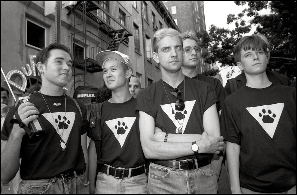 The Pink Panther Patrol, photographed August 4, 1990, was a civilian patrol group based in New York City, founded by members of Queer Nation and ACT UP in the summer of 1990 in order to combat anti-LGBTQ violence in Manhattan's West Village. They received notoriety when they were successfully sued in 1991 by MGM Pictures, the owner of the rights the Pink Panther cartoon. The neighborhood watch group would patrol areas, between midnight and 3 A.M. on Fridays and Saturdays, that had a large number of gang assaults on gays and lesbians.
