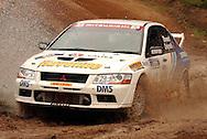 Ed Ordynski & Iain Stewart.Mitsubishi Lancer Evo VII.2003 Rally of Canberra .Canberra, ACT, Australia.25-27th of April 2003.(C) Joel Strickland Photographics