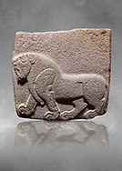 Aslantepe Hittite relief sculpted orthostat stone panel. Limestone, Aslantepe, Malatya, 1200-700 B.C. . Anatolian Civilisations Museum, Ankara, Turkey. Depiction of a horse walking.<br /> <br /> Against a grey art background. .<br /> <br /> If you prefer to buy from our ALAMY STOCK LIBRARY page at https://www.alamy.com/portfolio/paul-williams-funkystock/hittite-art-antiquities.html . Type - Aslantepe - in LOWER SEARCH WITHIN GALLERY box. Refine search by adding background colour, place, museum etc.<br /> <br /> Visit our HITTITE PHOTO COLLECTIONS for more photos to download or buy as wall art prints https://funkystock.photoshelter.com/gallery-collection/The-Hittites-Art-Artefacts-Antiquities-Historic-Sites-Pictures-Images-of/C0000NUBSMhSc3Oo