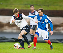 Falkirk's Rory Loy and Cowdenbeath's Jamie Stevenson.<br /> half time : Cowdenbeath 0 v 0 Falkirk, Scottish Championship game today at Central Park, the home ground of Cowdenbeath Football Club.<br /> © Michael Schofield.