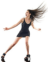 one young beautiful long hair caucasian woman disco happy dancer dancing studio shot isolated on white background