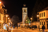Main street with a church tower