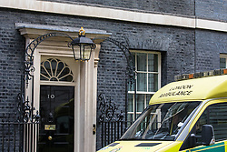 © Licensed to London News Pictures. 07/03/2017. London, UK. An ambulance arrives on Downing Street. The reason is currently unknown. Photo credit: Rob Pinney/LNP
