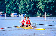 Henley. England, 1989 Henley Royal Regatta, River Thames, Henley Reach,  [© Peter Spurrier/Intersport Images], The Silver Goblets & Nickalls' Challenge Cup, USSR M2-, Bow Yuriy PIMENOV and Nikolay PIMENOV
