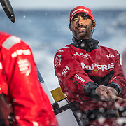 Leg 8 from Itajai to Newport, day 15 on board MAPFRE Guillermo Altadill holding the main sheet. 06 May, 2018.