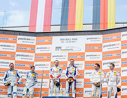 10.06.2017, Red Bull Ring, Spielberg, AUT, ADAC GT Masters, Spielberg, 1. Rennen, im Bild v.l.: 2. Platz Sven Barth (GER)/Maximilian Hacklaender (GER) RWT Racing, 1. Platz Daniel Keilwitz (GER)/Jules Gounon (FRA) Callaway Competition, 3. Platz Ricky Collard (GBR)/Philipp Eng (AUT) BMW Team Schnitzer // f.l.: 2nd placed German ADAC GT Masters driver Sven Barth/German ADAC GT Masters driver Maximilian Hacklaender of RWT Racing Winner German ADAC GT Masters driver Daniel Keilwitz/French ADAC GT Masters driver Jules Gounon of Callaway Competition 3nd placed British ADAC GT Masters driver Ricky Collard/Austrian ADAC GT Masters driver Philipp Eng of BMW Team Schnitzer during the 1st race of the ADAC GT Masters at the Red Bull Ring in Spielberg, Austria on 2017/06/10. EXPA Pictures © 2017, PhotoCredit: EXPA/ Dominik Angerer
