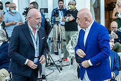 STEFANO BONACCINI ADRIANO GALLIANI E ARIEDO BRAIDA  <br /> INAUGURAZIONE CALCIOMERCATO 2021 GRAND HOTEL RIMINI