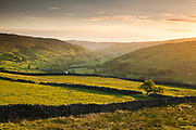 The Swaledale Valley from Whitaside Moor. Golden hour light in the Yorkshire Dales, England, UK.