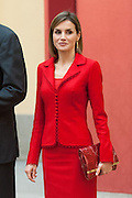 MADRID, SPAIN, 2015, OCTOBER 19 <br /> <br /> Letizia, 43, wife of King Felipe at the meeting with the bosses of the Cervantes Institute and the Latin American Ambassadors accredited to Spain<br /> ©Exclusivepix Media