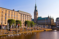The Alster Canal with the Rathaus (City Hall) in background, Hamburg, Germany