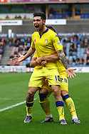 Alex Mowatt of Leeds united celebrates with his teammates after scoring his teams 3rd goal. Skybet football league Championship match, Huddersfield Town v Leeds United at the John Smith's Stadium in Huddersfield, Yorks on Saturday 7th November 2015.<br /> pic by Chris Stading, Andrew Orchard sports photography.